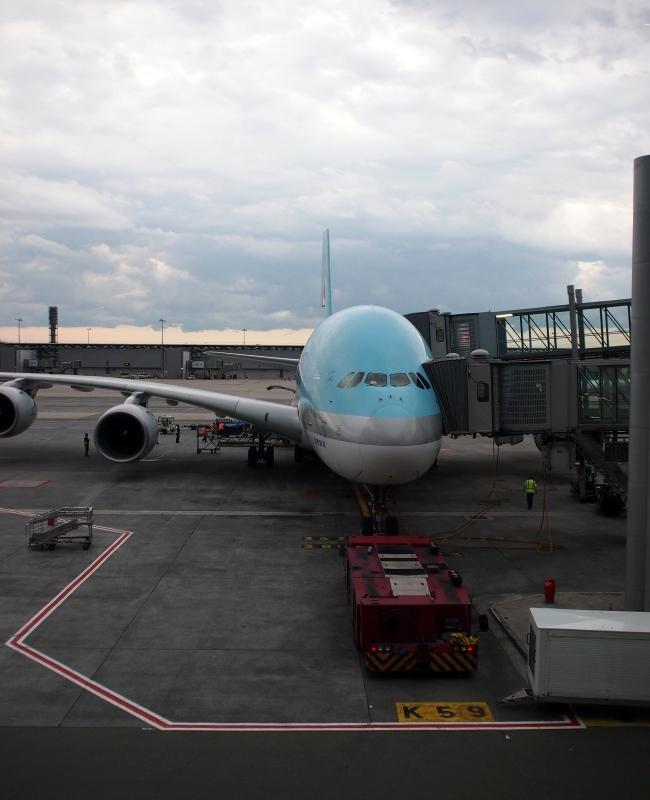 帰国へ 空港 大韓航空機