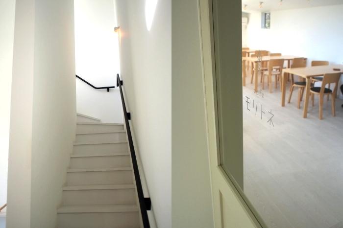 モリトネ 階段とカフェ入り口