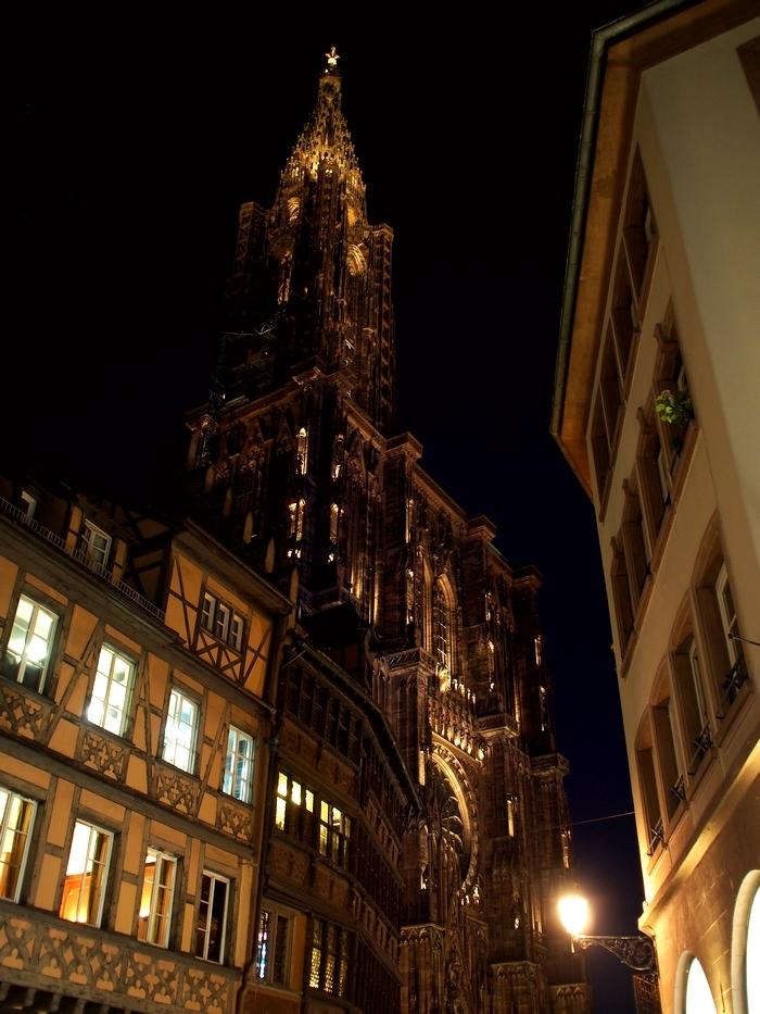 夜のストラスブール大聖堂(Cathédrale Notre-Dame de Strasbourg)