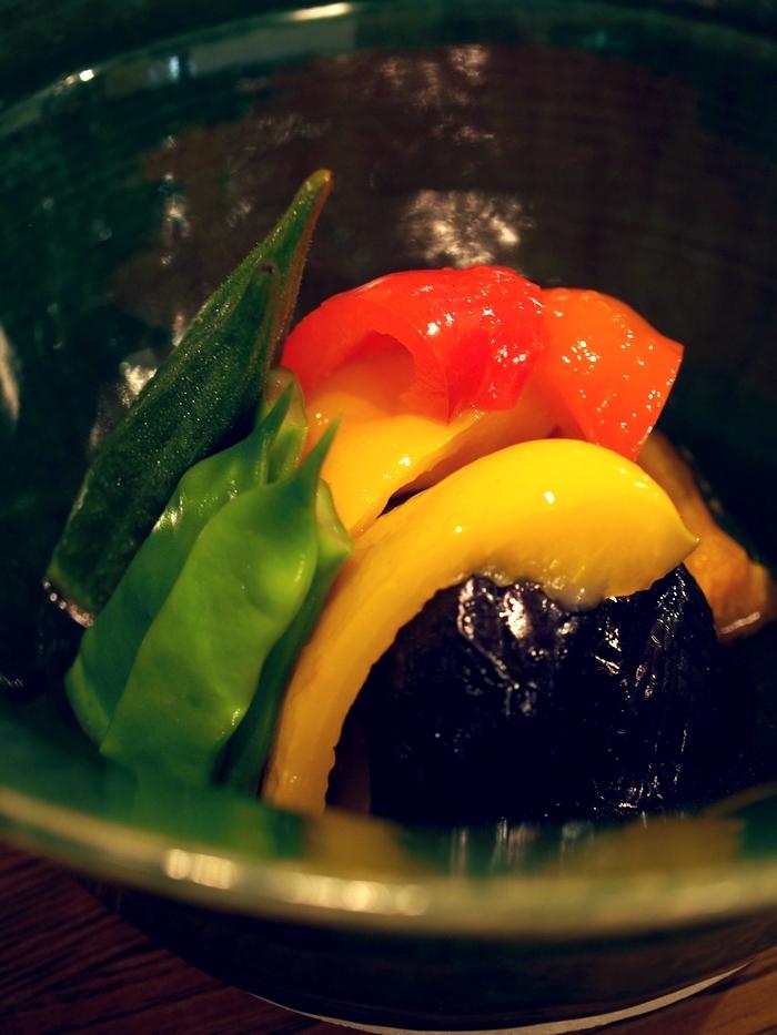 三水館の料理 夏野菜の煮びたし