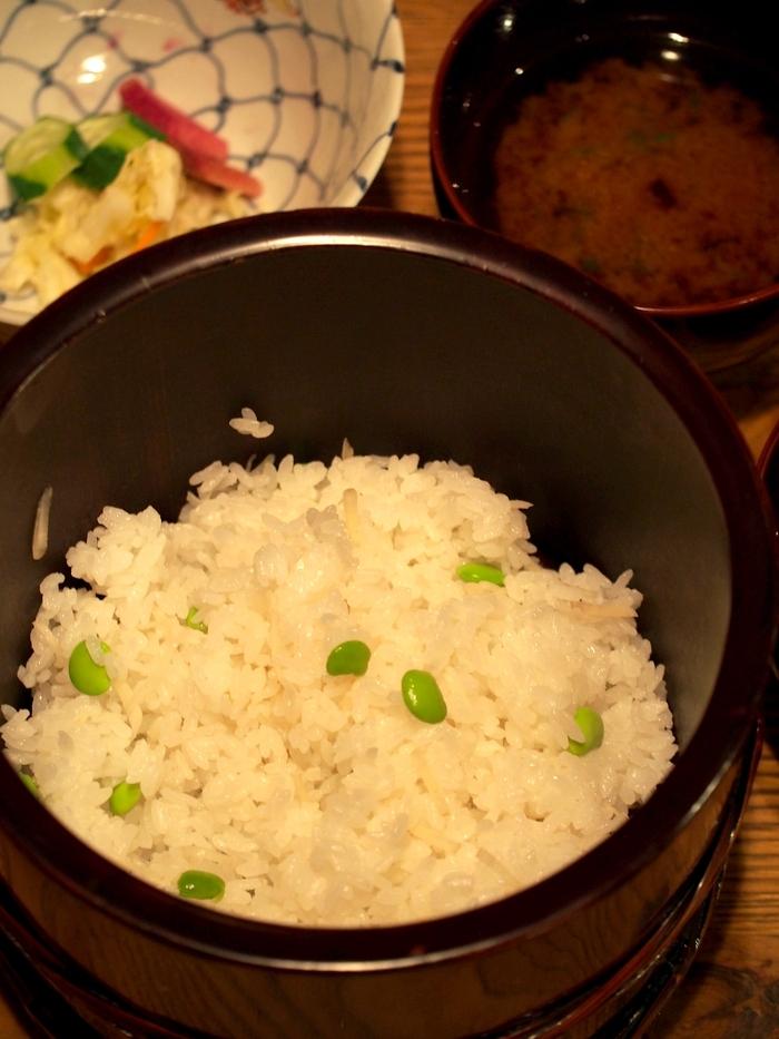 三水館の料理 新生姜と枝豆のご飯