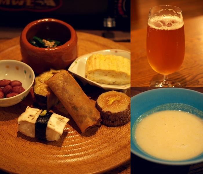 鹿教湯温泉三水館 前菜 ビール ピーナッツかぼちゃのスープ
